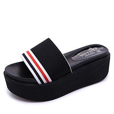 Zapatillas &Amp; Flip-Flops Summer Light Soles Lycra tal¨®n plano informal Caf¨¦ Blanco Negro otros paseos US7.5 / EU38 / UK5.5 / CN38
