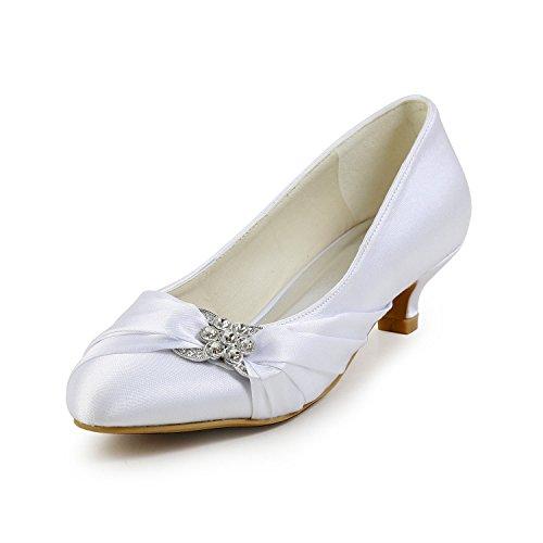 Minishion Gyayl402 Zapatos De Noche De Tacón Bajo Satinado Para Mujer Zapatos De Boda Nupcial De Diamantes De Imitación Bombardeo Tacón De Marfil-4cm