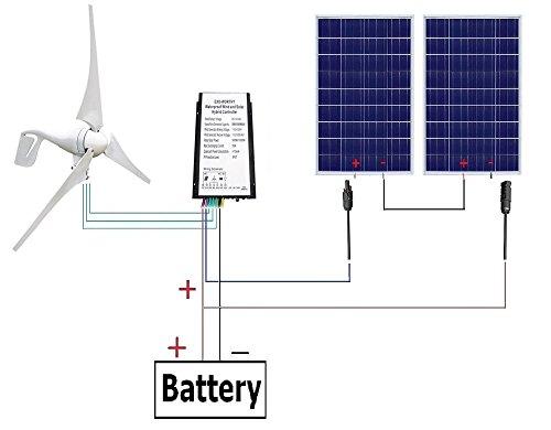 ECO-WORTHY 24V 600W Hybrid System Kit: 400W Wind Turbine Generator + 2pc 100W PV Solar Panel