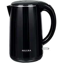 Secura The Original Stainless Steel Double Wall Electric Water Kettle 1.8 Quart (Black)