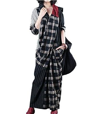 YESNO JCA Women Long Loose Maxi Dress 100% Linen Plaid Stripe Spliced Front Pleated Back Split Long Sleeve/Pockets