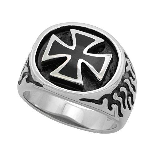 Stainless Steel Maltese Cross Ring Flames Biker Rings for men 3/4 inch, size - Maltese Womens