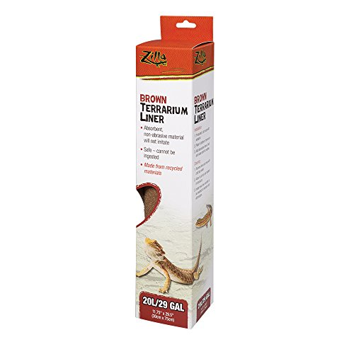 Terrarium Cage Carpet (Zilla Reptile Terrarium Bedding Substrate Liner, Brown, 20L/29G)