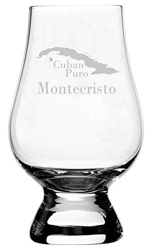 Montecristo Cuban Cigar Themed Etched Glencairn Crystal Whisky Glass (Best Montecristo Cuban Cigars)