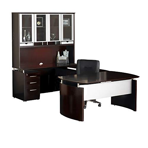 (Safco Products Mayline Napoli Series-Suite #33 Desk, Mahogany Veneer/Silver Paint)