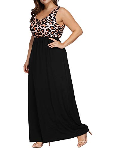 Pink Women's Sleeveless Print Long Dress Size Light Leopard Maxi Casual Tank Plus Leopard Allegrace Dresses gwxdHOqx