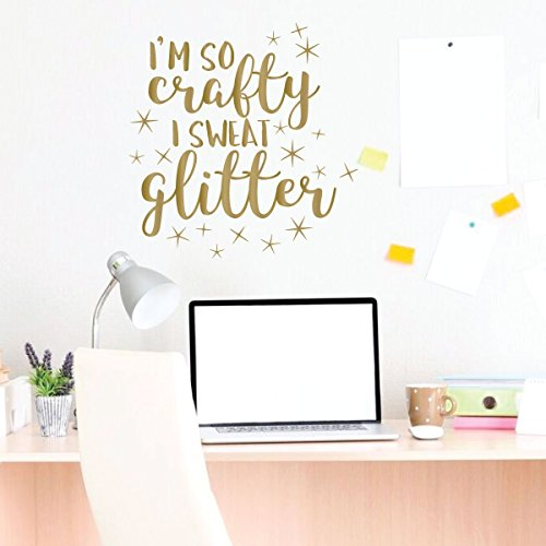 Cute Wall Decal - So Crafty I Sweat Glitter - Crafter Gift - Wall Decals for Home Decor, Bedroom, Playroom, Study Area Or (Go Industries Black Powder)