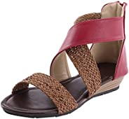 Womens Summer Low Wedge Sandals Espadrilles Peep Toe Zipper Sandal Cutout Casual Comfort Shoes