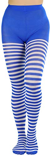 ToBeInStyle Women's Nylon Horizontal Striped Tights - White/Blue - One Size -