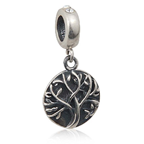 Tree of Life Charm 925 Sterling Silver Family Charm Love Pendant for Charm Bracelet (White)