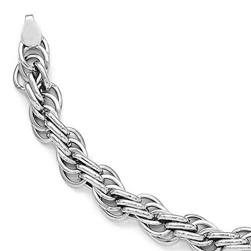 Or blanc 14ct Fancy-Bracelet Femme-Lien Poli 20cm
