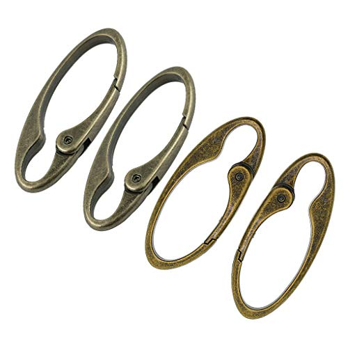 NATFUR 4X Antique Bronze Silver Spring Snap Clip Hook Alloy Clip Keychain Keyring Key-Chain for Gift Novelty Fine