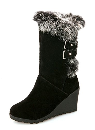 Wedge Snow Boots - Aisun Women's Warm Comfy Round Toe Buckle Strap Faux Fur-Lined Mid Heel Wedge Mid Calf Snow Boots (Black, 6 B(M) US)