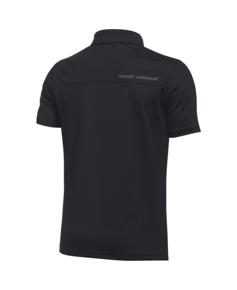 Under Armour Boys' Performance Polo, Black /Rhino Gray, Youth Small by Under Armour (Image #2)