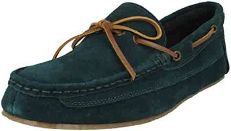 a3005349675 CLARKS Mens Crackling Glow Teal Suede Leather Fur Boat Slippers G Fit Size
