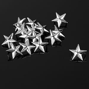 100 Apliques Remaches Plata 15mm en forma de Estrella Tachuelas