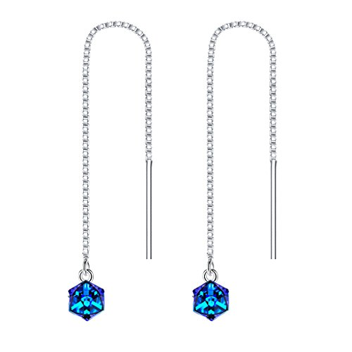 BriLove Women 925 Sterling SilverMagic Cube Slide Threader Earrings Adorned with Swarovski Crystals
