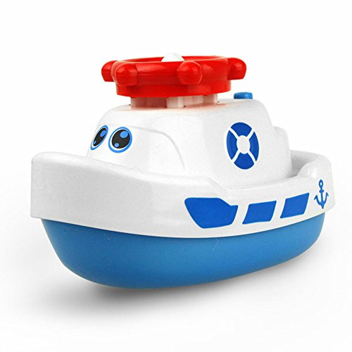 Fountain Speed Boats (GSPet Marine Animal Model Bath Toy Baby Toddler Bathroom Electric Spray Water Boat - White)