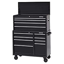 """Waterloo Industries W100 Series 12-Drawer Tool Chest and Rolling Cabinet Set, 41""""-Designed, Engineered and Assembled, Black"""