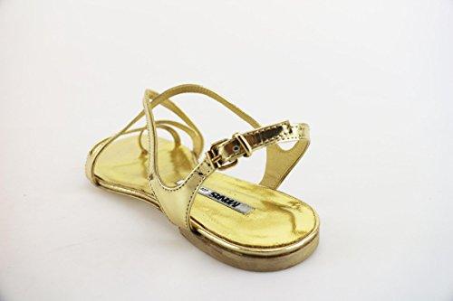 Manas Sandalias Mujer 37 EU Oro Cuero Brillante AH916