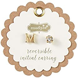 Mud Pie Initial Pave Pierced Earrings, Gold