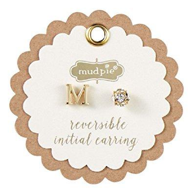 Mud Pie Initial Pave Pierced Earrings, Gold