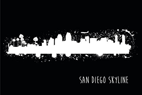 (San Diego California Paint Splat Black and White B&W Skyline Art Print Mural Giant Poster 54x36 inch )