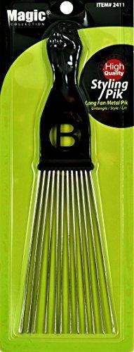 Afro Hair Pick Extra Large Long Black Fist Long Fan Metal Pik (B-2411)