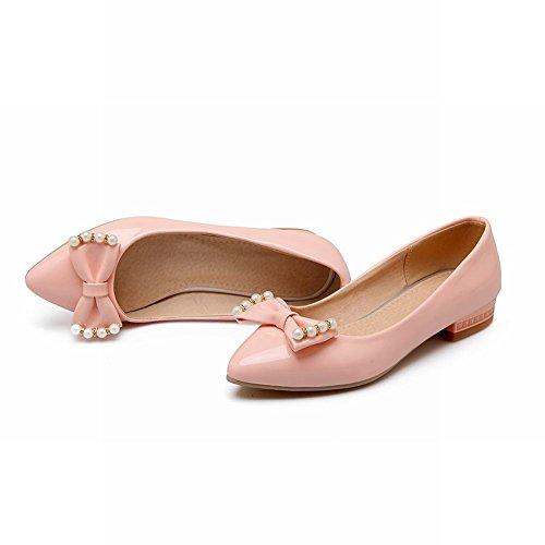 Carolbar Womens Bows Beaded Leuke Puntschoen Lage Hakken Loafers Schoenen Roze