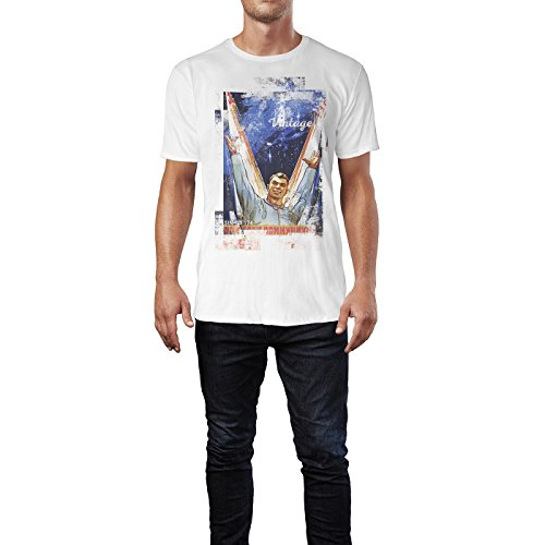 SINUS ART® To the Moon Herren T-Shirts stilvolles weißes Fun Shirt mit tollen Aufdruck