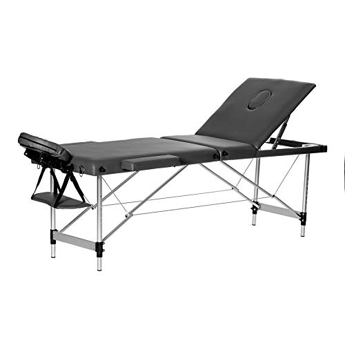 Homgrace Portable Massage Table 3 Fold Fold Aluminum Alloy Frame for Facial SPA Bed/SPA Therapy/Beauty Salon (Black 60CM)