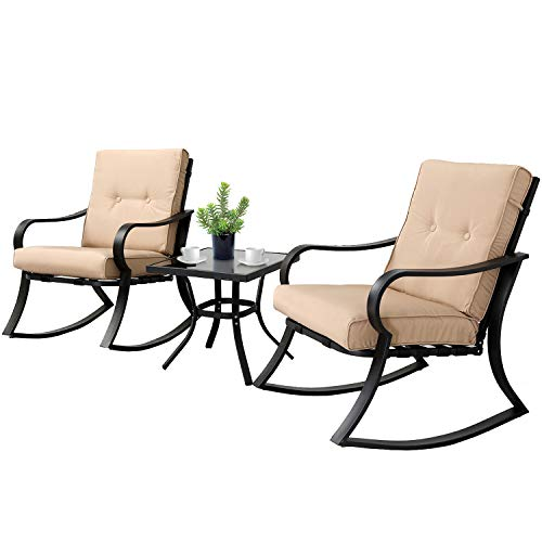 SOLAURA 3-Piece Outdoor Rocking Chairs Bistro Set, Black Steel Patio Furniture with Brown Thickened Cushion & Glass-Top Coffee Table (Porch Used Furniture)