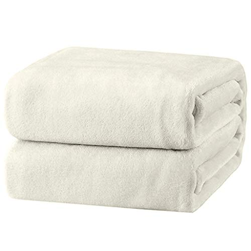 iYBUIA Super Soft Warm Solid Warm Micro Plush Flannel Bath Towel Fleece Blanket Throw Rug Sofa Bedding 150200 White