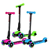 Allek Scooter, 3 Wheel Kick Scooter for Kids Boys Girls Adjustable Height PU Flashing Wheels Best Gifts for Children from 3-14yrs