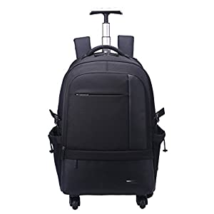 """AOKING 50L Water Resistant Travel School Business Rolling Wheeled Backpack with 15"""" Laptop Compartment (Black)"""