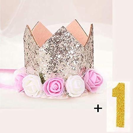 Doyime Neugeborenen Stirnband Gold Geburtstag Krone 1 Jahr Anzahl Prinzessin Stil Geburtstag Hut Baby Haar Accessoire Blau