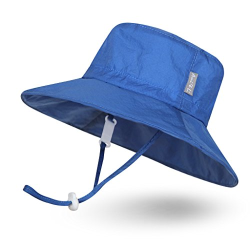 Ami&Li tots Super Lightweight Child Adjustable Ultrathin Sunhat for Baby Girl Boy Kids Toddler UPF 50 - L: Blue
