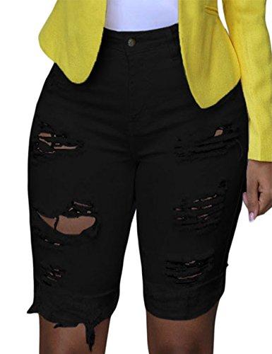 GRAPENT Women Ripped Washed Rolled Raw Hem Knee Length Denim Bermuda Shorts Jean Black Size Large (fits US 12 - US (Black Denim Bermuda)