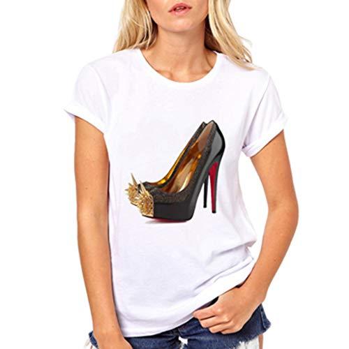 Fashion High Heels Print Funny Summer T Shirt Women Vogue Princess Short Sleeve T-Shirt Female Tops(XL,83-White)