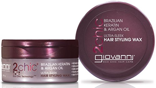 GIOVANNI COSMETICS 2Chic Brazilian Keratin & Argan Oil Ultra-Sleek Hair Styling Wax - Flexible Hold To Define Wave Pattern And Curls (2 Ounce / 57 Gram) (Head Styling Wax)
