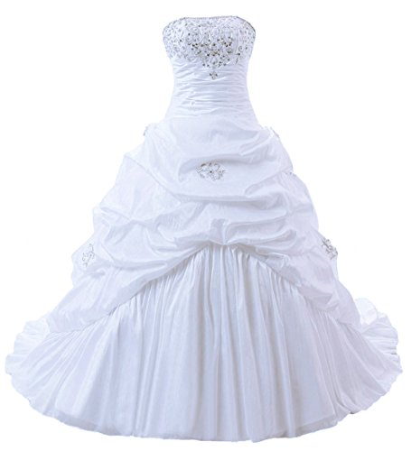 (Zorayi Women's Strapless Taffeta Wedding Dress Bridal Gown White Size 24)