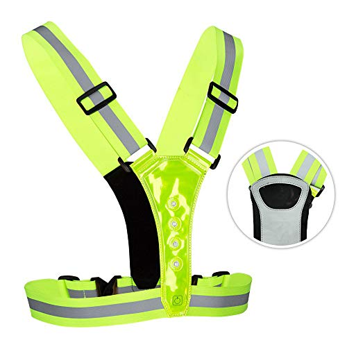 NORYER LED Reflective Vest with Phone Storage Pouch, 3 Mode High Visibility, Adjustable Stretch Waist Belt for Safe Running, Jogging, Dog Walking, Biking