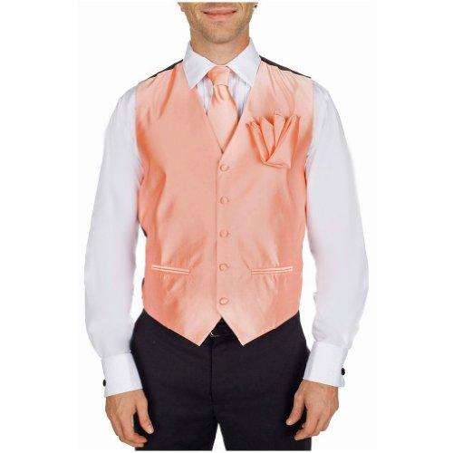 Mens Formal Solid Color Satin Tuxedo Formal Vest Neck Tie Hanky Set Peach ()