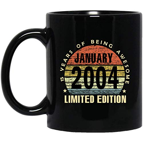 Vintage 15 Years of being awesome January 2004 Limited Edition Mug 15th Birthday Gifts for Men, Women, 11Oz Black Tea cup