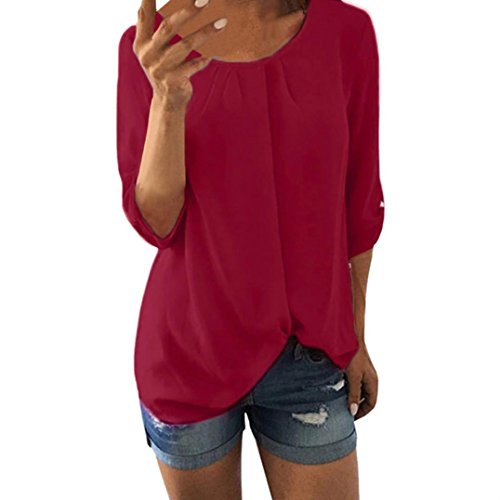 Fami Women's Cropped Sleeve Casual Chiffon T-Shirt Tops Blouse Rosso