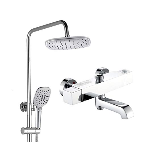 (Luxury Thermostatic Mixer Square Shower Head Bath Brass Valve Heart, Adjustable Height Exposed Riser Rail Shower Bar Hose All-in-One Chrome Rainfall Shower Mixer Set)