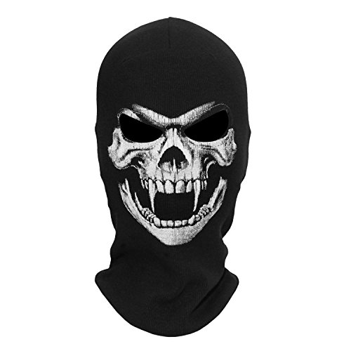 WTACTFUL Fangs Skeleton Skull Balaclava Ghost Death Neck Warmer Face Mask Headwear Protection Motorcycle Cycling Skiing Snowboarding Cosplay Costume Halloween Party Winter/Summer Grim04 Black -
