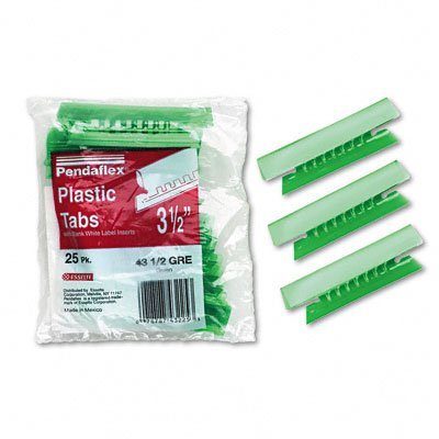 Pendaflex 43-1/2-GRE Hanging File Folder Tabs- 1/3 Tab- 3 1/2 in- Green Tab/White Insert- 25/Pack ESSELTE PENDAFLEX CORP. PFX4312GRE ESS4312GRE