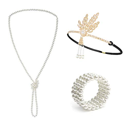 (Metme 1920s Great Gatsby Accessories Set Flapper Headband Pearl Necklace Stretch Bracelet)