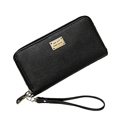 Leather Wallets for Women Long Large Capacity Purse with Wristlet Strap